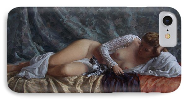Nude With A Kitten Phone Case by Korobkin Anatoly