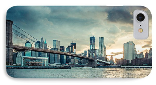 Nyc Skyline In The Sunset V1 Phone Case by Hannes Cmarits