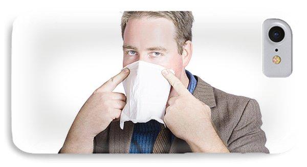 Office Man Avoiding Contagious Flu Like The Plague IPhone Case by Jorgo Photography - Wall Art Gallery