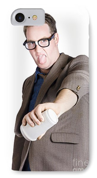Office Worker Pouring Out Drink. Bad Coffee IPhone Case