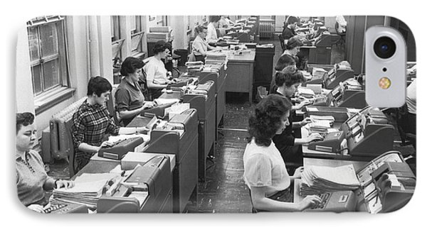 Office Workers Entering Data Phone Case by Underwood Archives