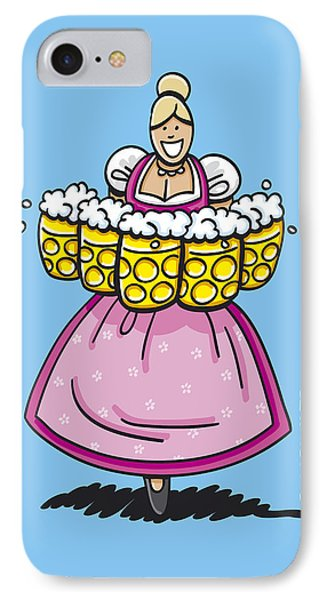 Oktoberfest Beer Waitress Dirndl IPhone Case by Frank Ramspott