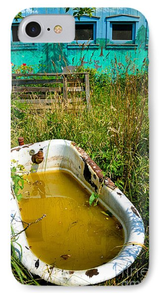 Old Bathtub Near Painted Barn Phone Case by Amy Cicconi