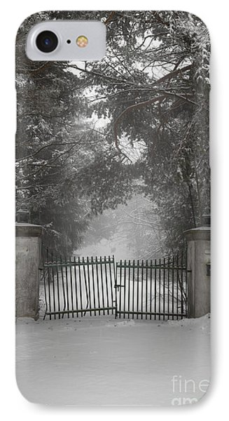Old Driveway Gate In Winter IPhone Case by Elena Elisseeva