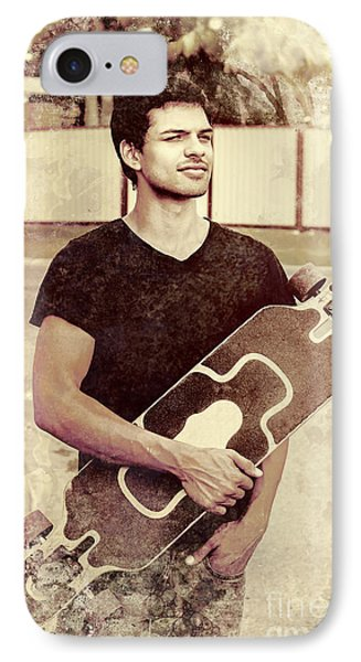 Old Grunge Photo Of A Cool Male Skater IPhone Case by Jorgo Photography - Wall Art Gallery