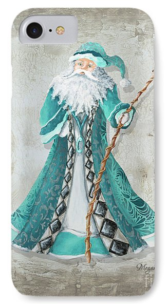 Old World Style Turquoise Aqua Teal Santa Claus Christmas Art By Megan Duncanson IPhone Case