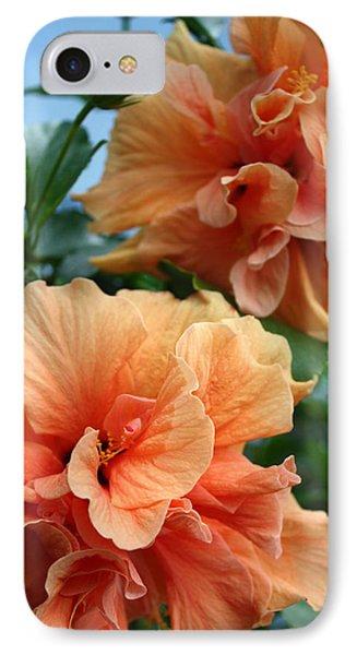 Orange Hibiscus Pair IPhone Case by Karen Nicholson