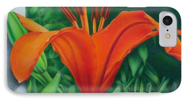 IPhone Case featuring the painting Orange Lily by Pamela Clements