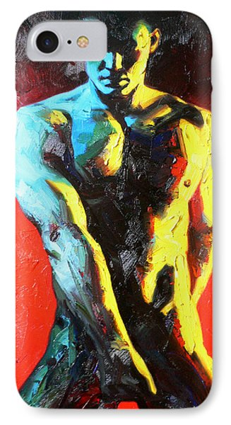 Original Abstract Oil Painting Art-male Nude By Kinfe IPhone Case by Hongtao     Huang
