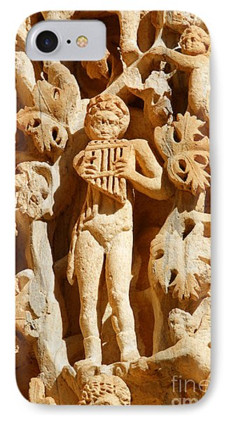 Ornately Sculpted Pillar At Leptis Magna In Libya IPhone Case by Robert Preston