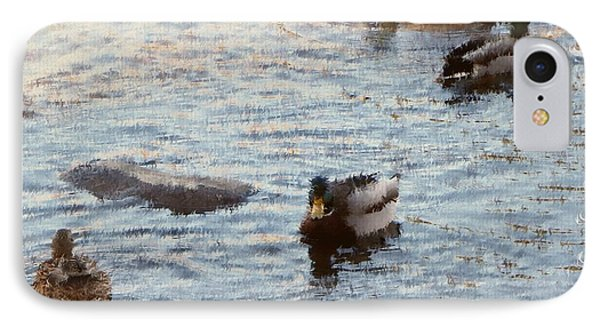 Out For A Swim Painting IPhone Case by Bobbee Rickard