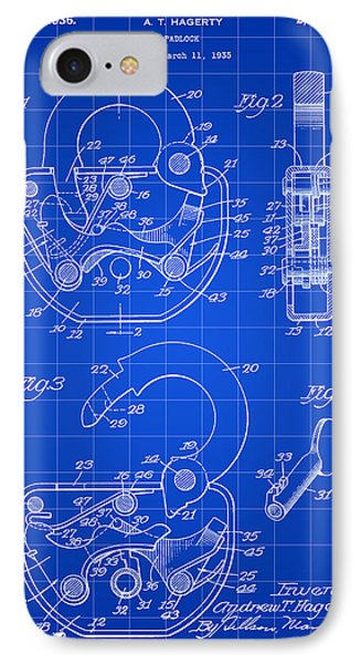 Padlock Patent 1935 - Blue IPhone Case by Stephen Younts