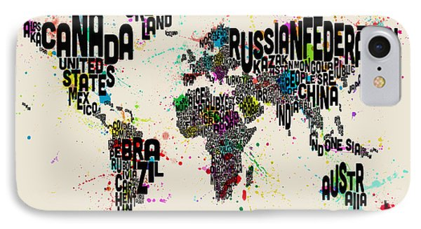 Paint Splashes Text Map Of The World Phone Case by Michael Tompsett