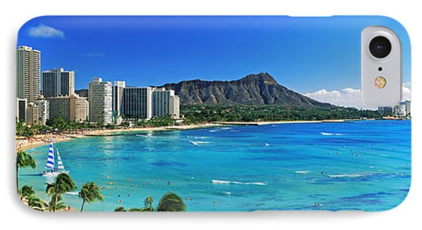 Palm Trees On The Beach, Diamond Head IPhone Case by Panoramic Images