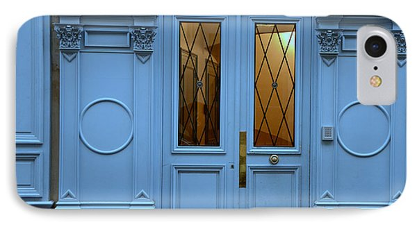 Paris Blue Door - Blue Aqua Romantic Doors Of Paris  - Parisian Doors And Architecture IPhone Case