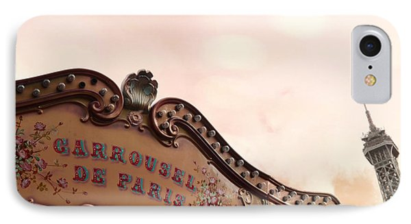 Paris Eiffel Tower And Carousel Merry Go Round - Paris Carousels Champ Des Mars Eiffel Tower IPhone Case by Kathy Fornal