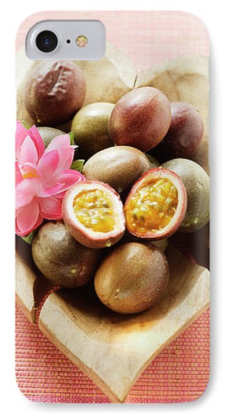 Passion Fruits (purple Granadilla) In Wooden Bowl IPhone Case