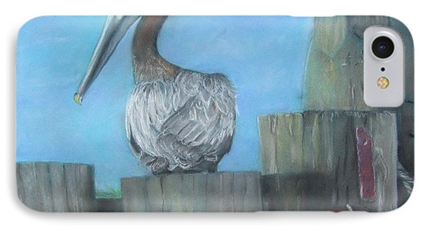 Pelican At Hatteras Ferry IPhone Case by Cathy Lindsey