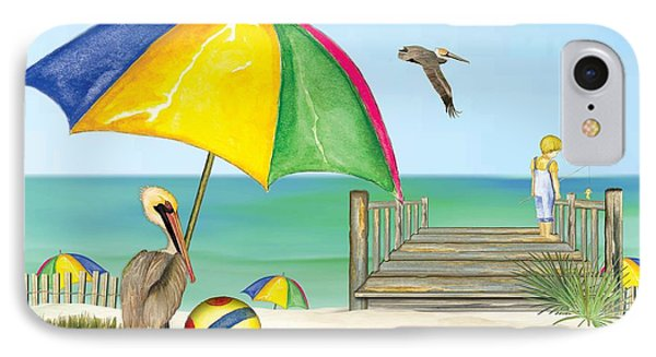 IPhone Case featuring the painting Pelican Under Umbrella by Anne Beverley-Stamps