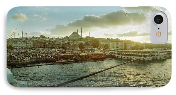 People Fishing In The Bosphorus Strait IPhone Case by Panoramic Images
