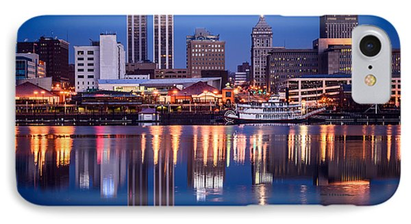 Peoria Illinois Skyline At Night Phone Case by Paul Velgos