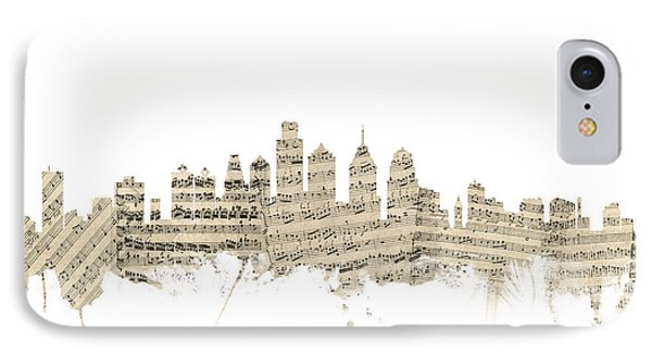 Philadelphia Pennsylvania Skyline Sheet Music Cityscape IPhone 7 Case by Michael Tompsett