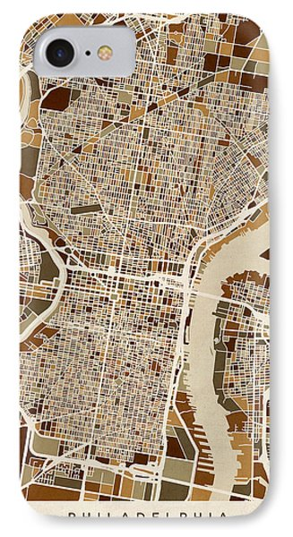 Philadelphia Pennsylvania Street Map IPhone Case by Michael Tompsett