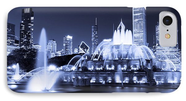 Photo Of Chicago At Night With Buckingham Fountain IPhone Case by Paul Velgos