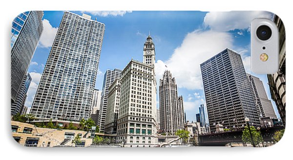 Photo Of Chicago Downtown River Buildings IPhone Case by Paul Velgos