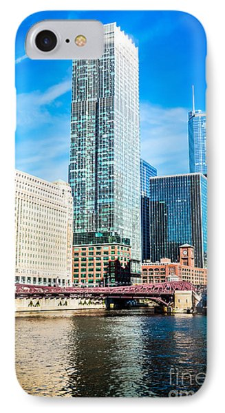 Picture Of Chicago River Skyline At Franklin Bridge Phone Case by Paul Velgos