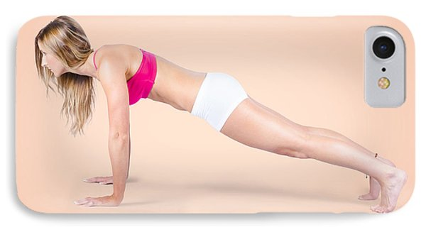 Pilates Fitness Intructor On White Background IPhone Case by Jorgo Photography - Wall Art Gallery