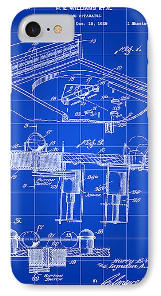 Pinball Machine Patent 1939 - Blue IPhone Case by Stephen Younts