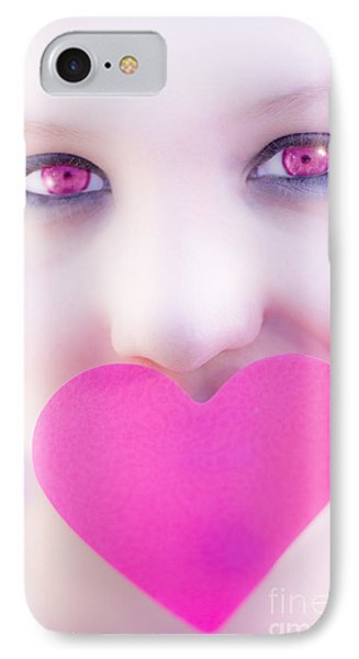 Pink Eyed Woman And Love Heart IPhone Case by Jorgo Photography - Wall Art Gallery