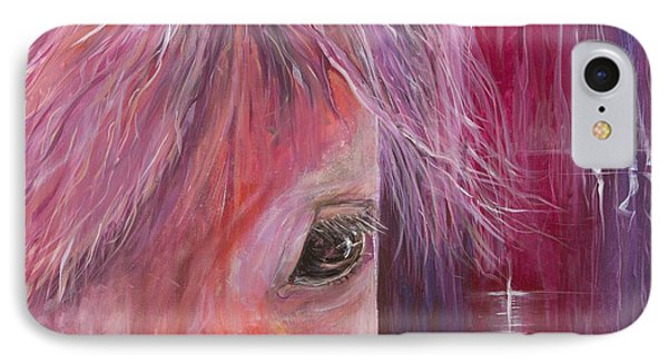 IPhone Case featuring the painting Pink Pony by Cathy Long