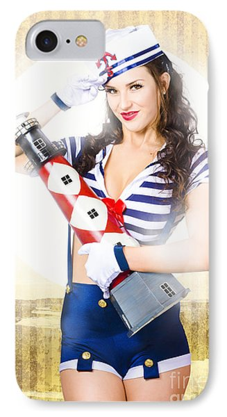 Pinup Portrait Of Young Happy Naval Woman IPhone Case by Jorgo Photography - Wall Art Gallery