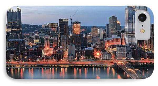 Pittsburgh At Dusk IPhone Case by Frozen in Time Fine Art Photography