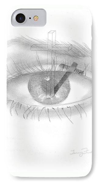 IPhone Case featuring the drawing Plank In Eye by Terry Frederick