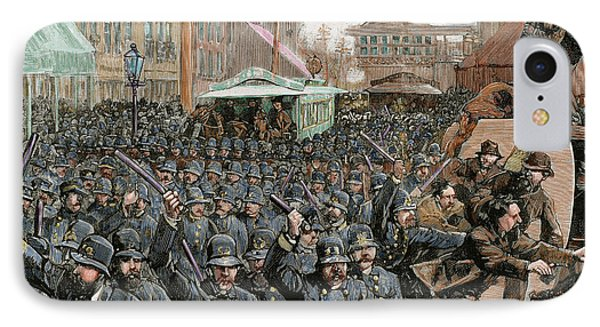 Police Officers Dispersing The Strike IPhone Case by Prisma Archivo