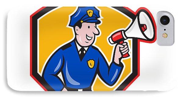 Policeman Shouting Bullhorn Shield Cartoon Phone Case by Aloysius Patrimonio