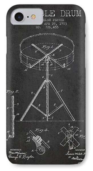 Drum iPhone 7 Case - Portable Drum Patent Drawing From 1903 - Dark by Aged Pixel