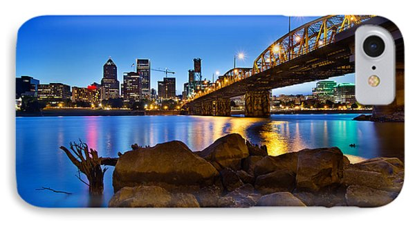 IPhone Case featuring the photograph Portland Oregon Skyline At Blue Hour by JPLDesigns