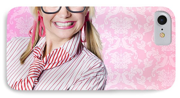 Portrait Of A Nerd Businesswoman With Funny Smile IPhone Case