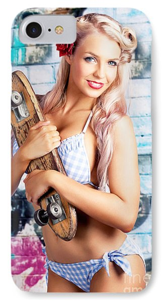 Portrait Of A Young Grunge Woman On Graffiti Wall IPhone Case by Jorgo Photography - Wall Art Gallery