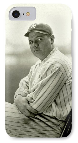 Portrait Of Babe Ruth IPhone Case by Arnold Genthe