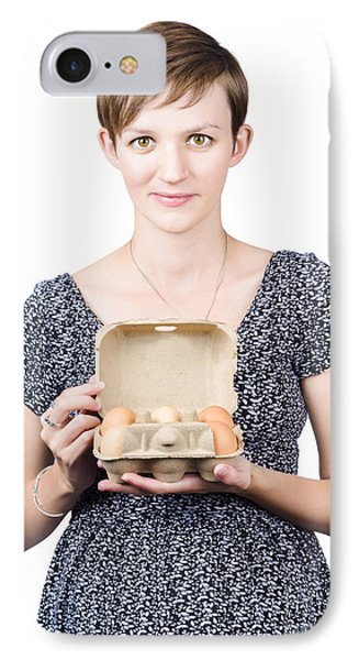 Pregnant Young Woman Displaying A Box Of Eggs IPhone Case