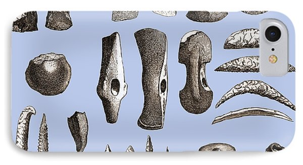 Prehistoric Stone Tools Phone Case by Sheila Terry