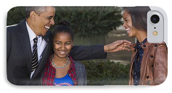 President Obama And Daughters IPhone Case by JP Tripp