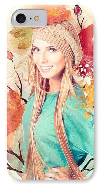 Pretty Blond Girl In Autumn Fashion Illustration IPhone Case by Jorgo Photography - Wall Art Gallery