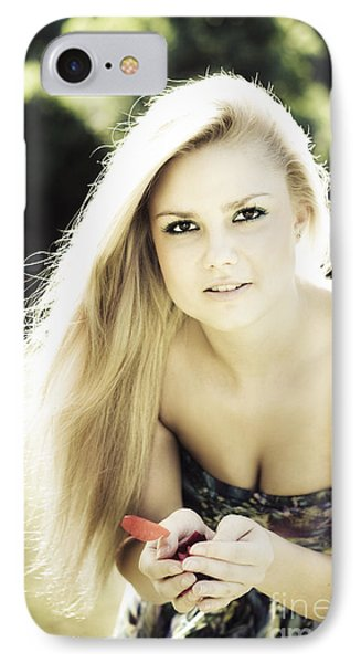 Pretty Blonde Holding Rose Petals IPhone Case by Jorgo Photography - Wall Art Gallery
