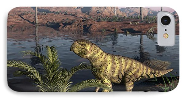 Psittacosaurus Dinosaur, Artwork IPhone Case by Walter Myers